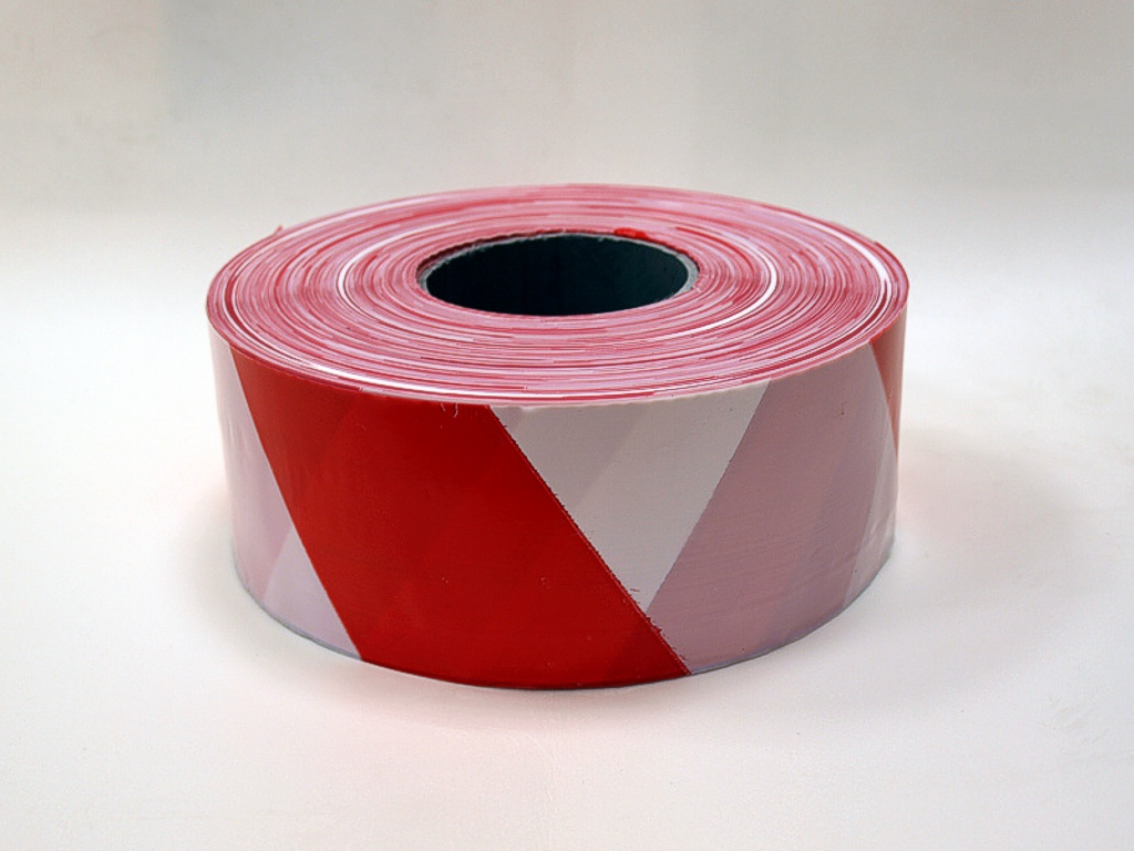 Barrier tape 75 mm x 500 m x 50 μm, color red-white, 10 pcs.